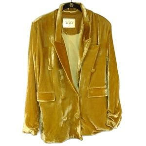 BlankNYC Jacket Mustard Yellow Crushed Velvet Sz S